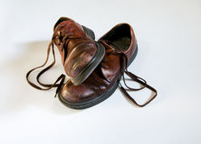 Old Brown school shoes Stock Photo