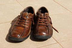 Old brown shoes Stock Image