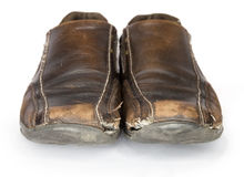 Old Brown Shoes  top view (isolated on white background) Stock Photos