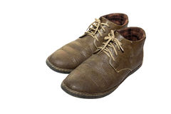 Old Brown Shoes. Brown Shoes on white background Royalty Free Stock Image