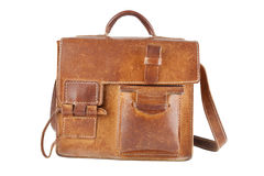 Old Brown Shoulder bag. Isolated Royalty Free Stock Images