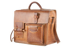 Old Brown Shoulder bag. Isolated Royalty Free Stock Photos