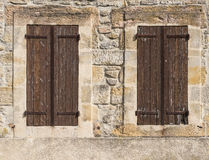 Old Brown Shutters Stock Photo