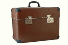 Old brown suitcase. For travel, white background and clipping path stock image