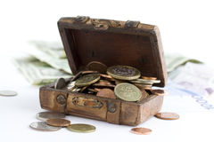 Old brown suitcase full of money Royalty Free Stock Photo