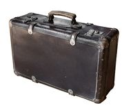 Old brown suitcase isolated on white background. Retro style. Copy space royalty free stock photo