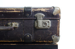 Old brown suitcase on a white background, isolate Stock Photography