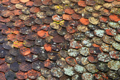 Old brown tile roof background Royalty Free Stock Images