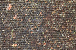 Old brown tile roof background Royalty Free Stock Photography