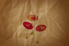 Old Brown Valentine Paper With Flowers Stock Photography