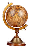 An old brown vintage globe on a small stand Stock Photography