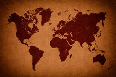 Old brown vintage world map Stock Images
