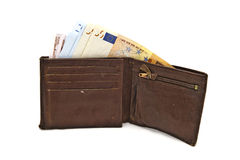 Old Brown Wallet And Euro Royalty Free Stock Image