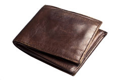 Old Brown wallet isolated on white Royalty Free Stock Photography