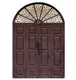 Old brown wood door. In Thailand Stock Photos