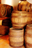 Old brown wooden barrel. 