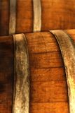 Old brown wooden barrel of sherry. An old brown wooden barrel of sherry Stock Image