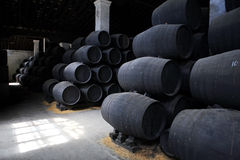 Old brown wooden barrels. Of sherry in bodega of Spanish town of Jerez de la Frontera Royalty Free Stock Image