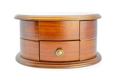 Old wooden casket with many compartments for jewelry stock image