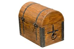 Old brown wooden chest stock images
