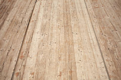 Old brown wooden floor perspective. Background texture Royalty Free Stock Photography
