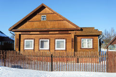 Old Brown Wooden House In Winter Time Royalty Free Stock Image