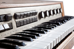 Old brown wooden piano Stock Images