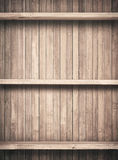 Old brown wooden planks texture with shelfs Royalty Free Stock Photos