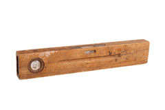 Old brown wooden spirit level Stock Photos
