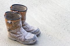 Old brown work boot Royalty Free Stock Image