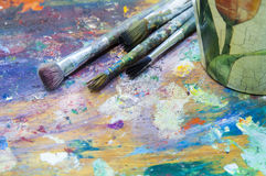 Old brush for painting Royalty Free Stock Images