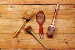 The old  brush on wooden boards Stock Images