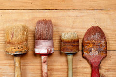 The old  brush on wooden boards Royalty Free Stock Photo