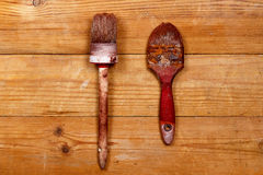 The old  brush on wooden boards Stock Photo