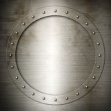 Old brushed Steel round frame Stock Images