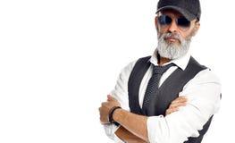 Old brutal senior millionaire man in white shirt and aviator sunglasses stylish fashionable men stock image