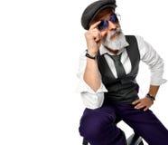 Old brutal senior millionaire man in white shirt and aviator sunglasses stylish fashionable men royalty free stock photo