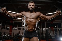 Old brutal strong bodybuilder athletic men pumping up muscles wi Royalty Free Stock Image