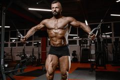 Old brutal strong bodybuilder athletic men pumping up muscles wi Royalty Free Stock Photography