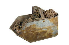 Old bucket with ash stock photos