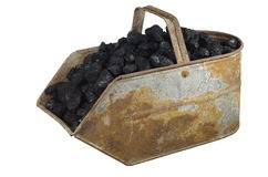 Old bucket with carbon Royalty Free Stock Photos