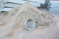 Old bucket in consturction site Royalty Free Stock Image