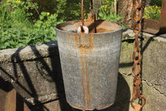 Old bucket fountain Royalty Free Stock Image