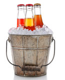 Old Bucket With Ice and Soda Pop Royalty Free Stock Images