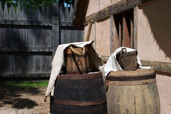 Old buckets. And barrels in Jamestown, Virginia Royalty Free Stock Image