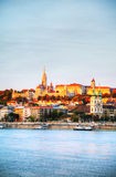 Old Budapest overview as seen from Danube river bank Royalty Free Stock Images