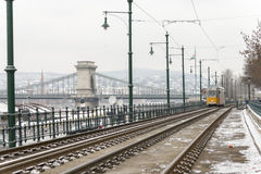 Old Budapest tram and Chain bridge Royalty Free Stock Image