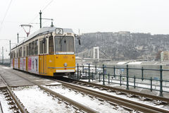 Old Budapest tram in the winter Royalty Free Stock Photography