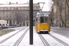 Old Budapest tram on winter day Royalty Free Stock Photography
