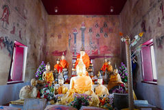 Old buddha gold statue and thai art architecture Stock Photo